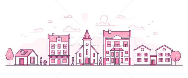 City street - modern thin line design style vector illustration Stock photo © Decorwithme