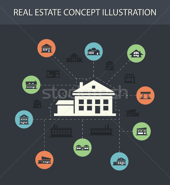 Illustration of buildings flat design composition with icons  Stock photo © Decorwithme