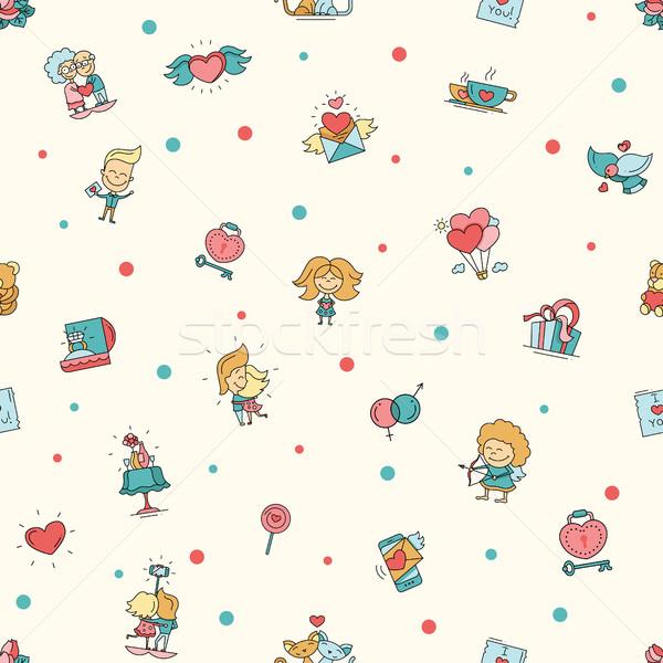 Stockfoto: Ontwerp · valentijnsdag · liefde · romantiek · iconen · patroon