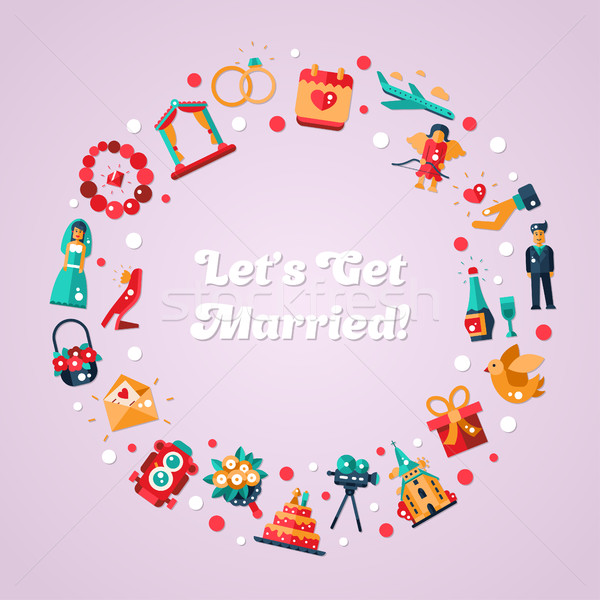 Flat design wedding and marriage proposal circle postcard Stock photo © Decorwithme