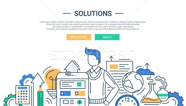 ストックフォト: ソリューション · 行 · デザイン · バナー · 男性 · ビジネス