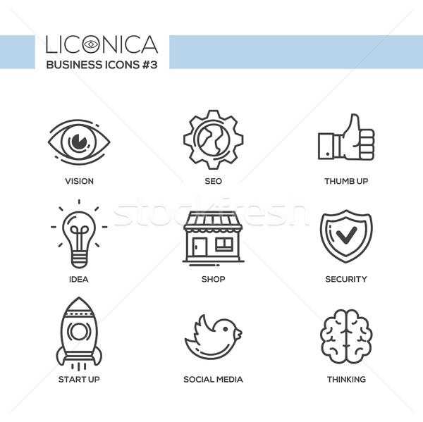 Moderne kantoor business lijn ontwerp iconen Stockfoto © Decorwithme