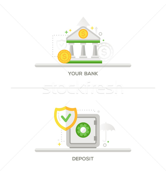 Bank, Deposit Vault Icons Stock photo © Decorwithme