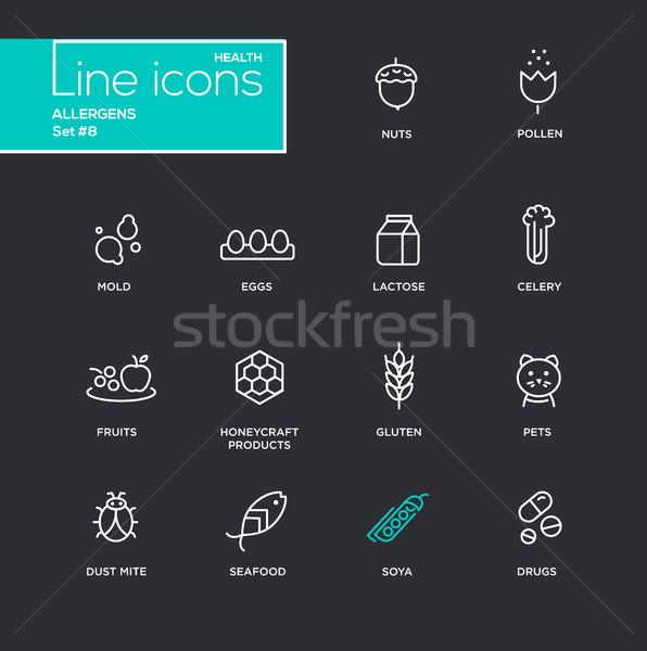 Simple léger ligne design icônes pictogrammes Photo stock © Decorwithme