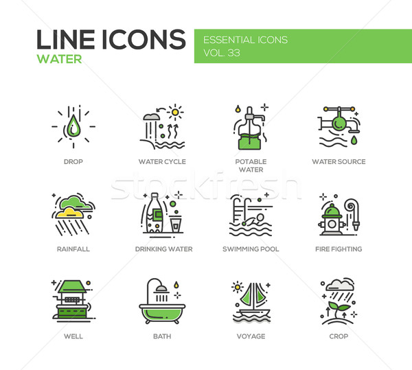 Water - line design icons set Stock photo © Decorwithme