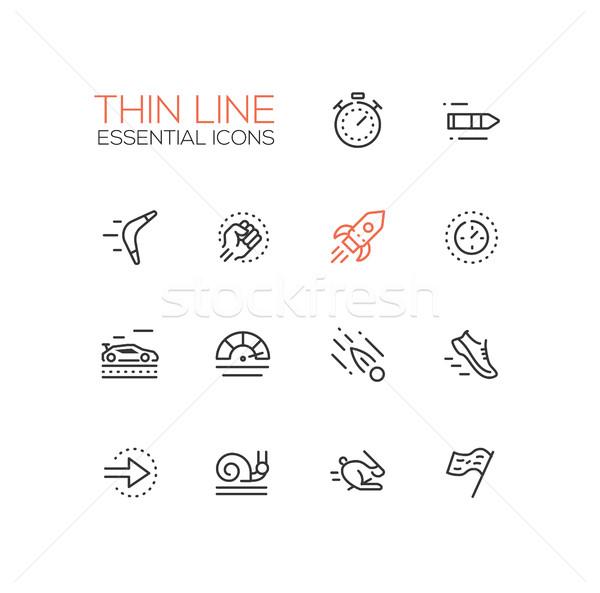 Snelheid moderne vector dun lijn Stockfoto © Decorwithme