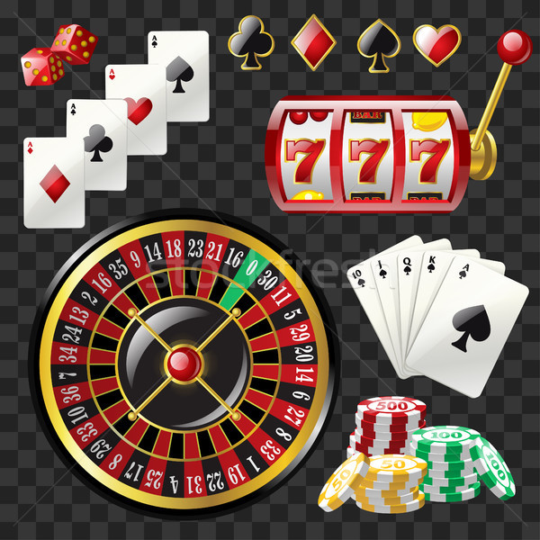Set of casino objects - modern vector realistic isolated clip art Stock photo © Decorwithme