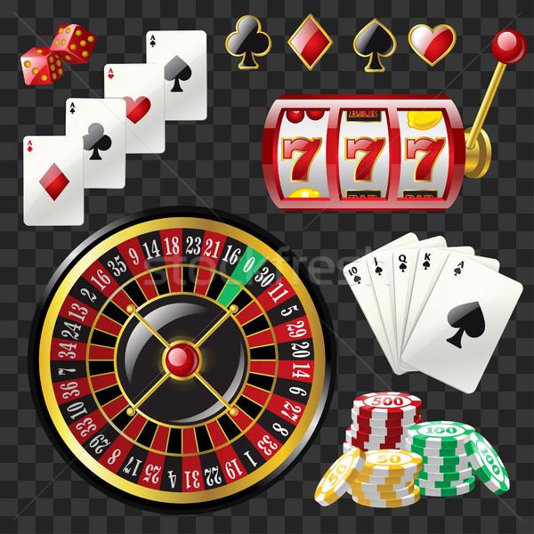 набор казино объекты современных вектора реалистичный Сток-фото © Decorwithme