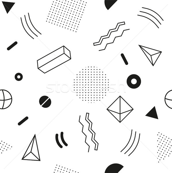 Stock photo: Monochrome seamless abstract geomertic pattern - modern material design background