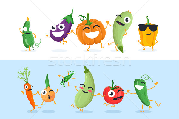 Funny vegetable characters - set of vector isolated illustrations Stock photo © Decorwithme