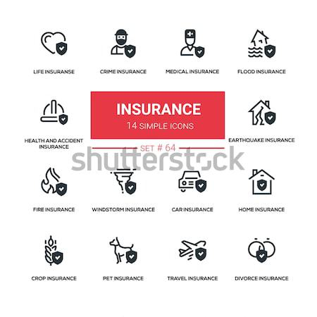 Stock fotó: Biztosítás · vonal · terv · ikon · szett · élet · egészség