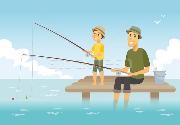 Apa fia halászat rajzolt emberek betűk illusztráció fiatal Stock fotó © Decorwithme