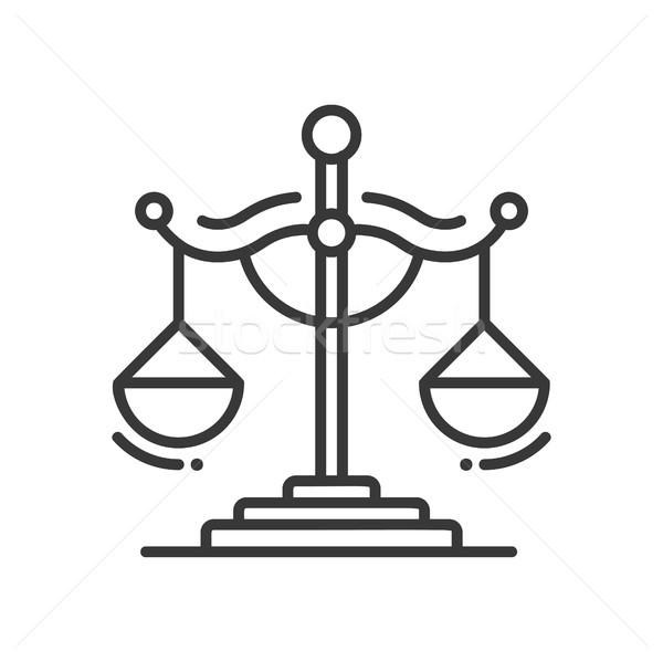 Skali sprawiedliwości line projektu odizolowany ikona Zdjęcia stock © Decorwithme