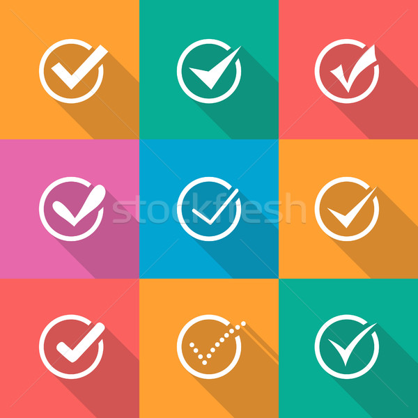 Illustration of modern vector confirm icons set Stock photo © Decorwithme