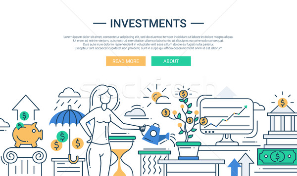 Investments line flat design banner with female managing finance Stock photo © Decorwithme