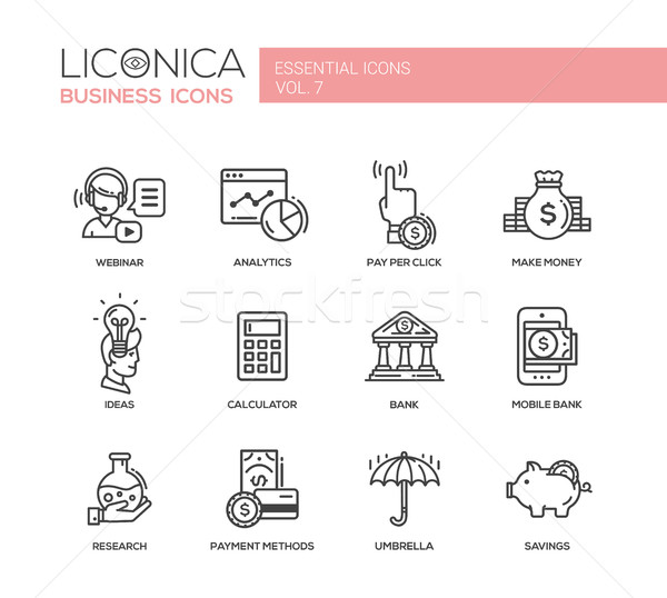 Stockfoto: Moderne · financieren · business · lijn · ontwerp · iconen