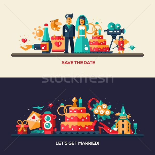 Ontwerp bruiloft huwelijk banners ingesteld vector Stockfoto © Decorwithme