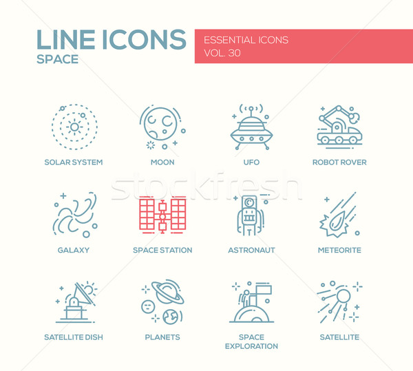 The Space - line design icons set Stock photo © Decorwithme
