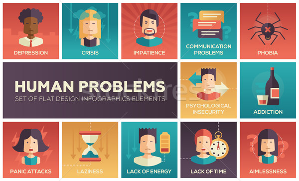 Stock photo: Human psychological problems- flat design icons set