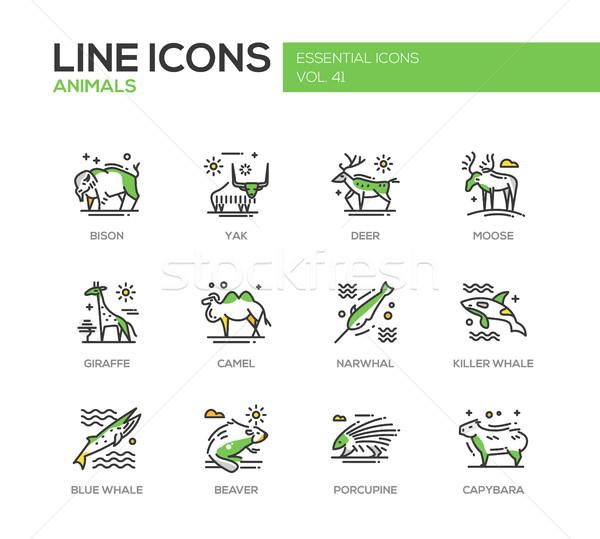 Animals - line design icons set Stock photo © Decorwithme