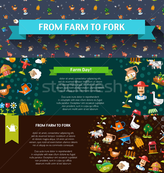 Set of modern flat design farm and agriculture icons and element Stock photo © Decorwithme