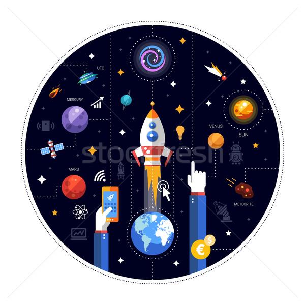 дизайна иллюстрация ракета запуск иконки вектора Сток-фото © Decorwithme