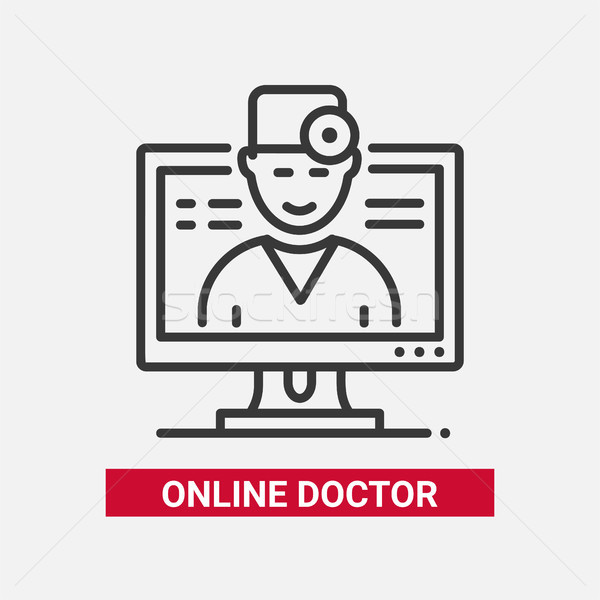 Online doctor - line design single isolated icon Stock photo © Decorwithme