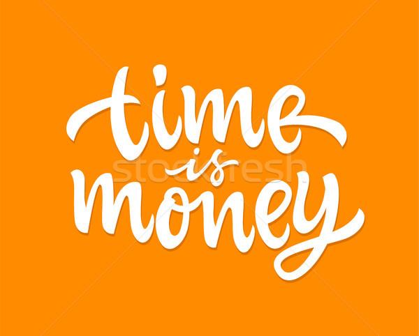 Время-деньги вектора рисованной щетка пер дизайна Сток-фото © Decorwithme