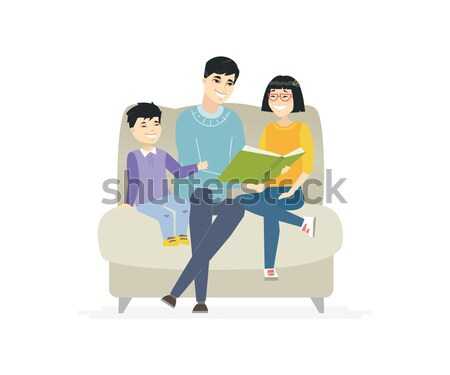 Father reads a fairytale - cartoon people characters isolated illustration Stock photo © Decorwithme