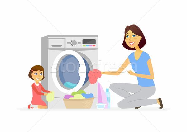Lány anya mosás rajzolt emberek betűk izolált Stock fotó © Decorwithme