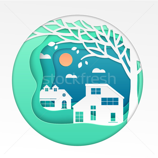 Country house - modern vector paper cut illustration Stock photo © Decorwithme