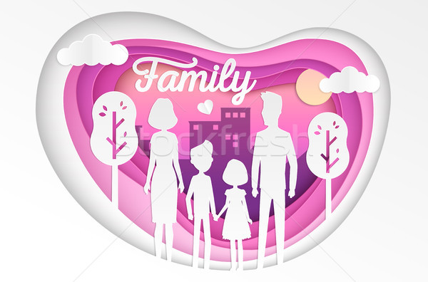 Familie moderne vector papier gesneden illustratie Stockfoto © Decorwithme