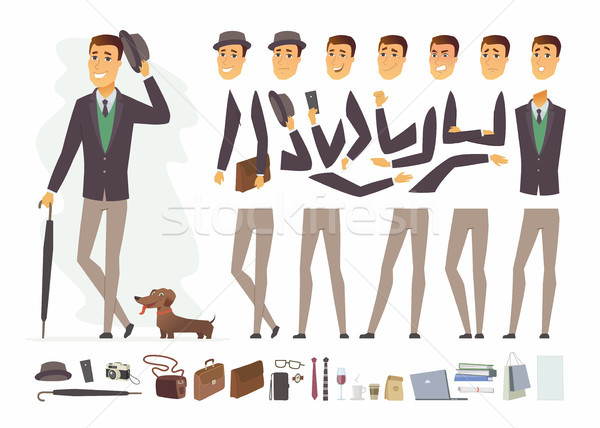 Stylish man - vector cartoon people character constructor Stock photo © Decorwithme