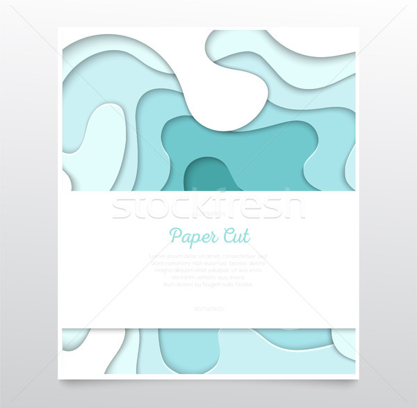 Turquois abstract layout - vector paper cut banner Stock photo © Decorwithme