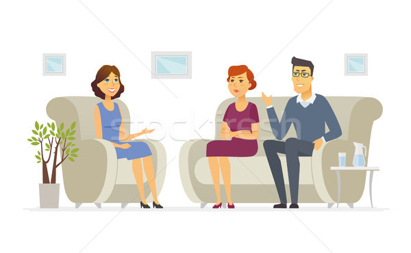 A couple visiting a psychologist - cartoon people character isolated illustration Stock photo © Decorwithme