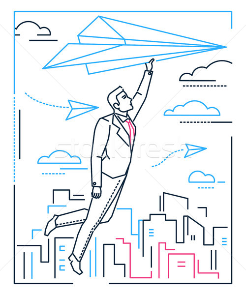 Businessman flying on a paper plane - line design style illustration Stock photo © Decorwithme