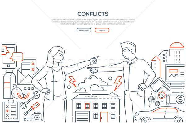 Conflicts - line design style banner Stock photo © Decorwithme
