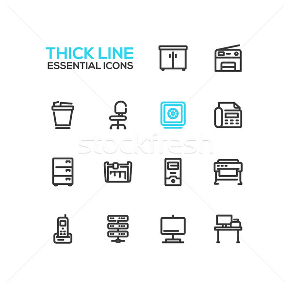 Office Supplies - Thick Single Line Icons Set Stock photo © Decorwithme
