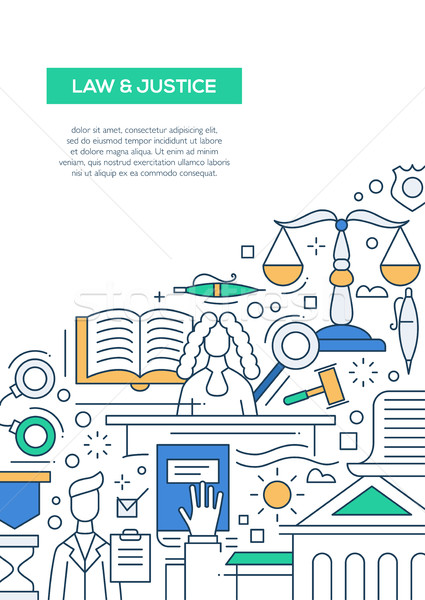 Law and Justice - line design brochure poster template A4 Stock photo © Decorwithme