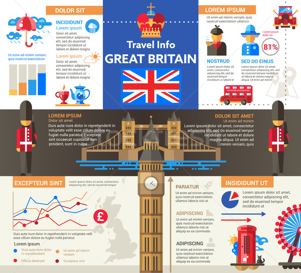 Great Britain Travel Info - poster, brochure cover template Stock photo © Decorwithme