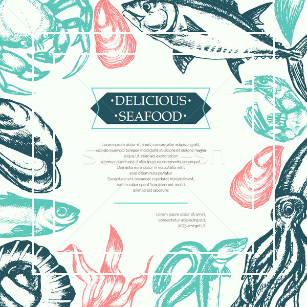 Delicious Seafood - color vintage postcard template. Stock photo © Decorwithme