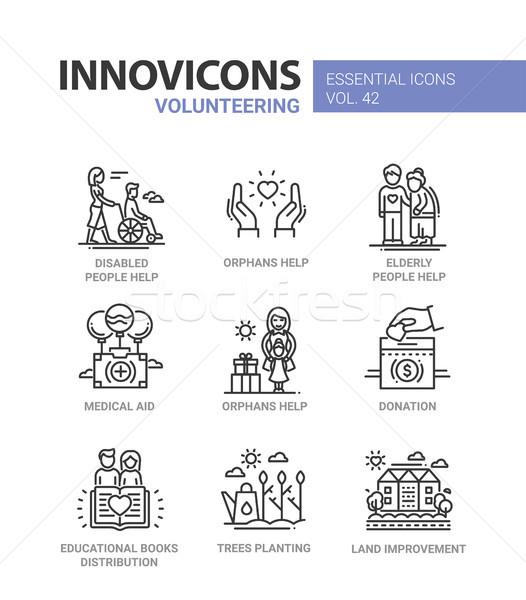 Volunteering - modern vector line design icons set. Stock photo © Decorwithme
