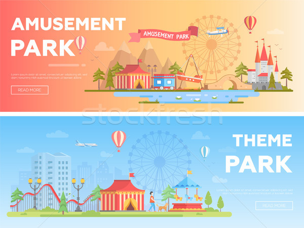 Amusement park - set of modern flat vector i llustrations Stock photo © Decorwithme