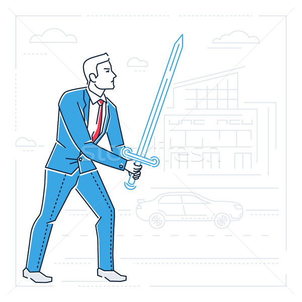 Businessman with a sword - line design style isolated illustration Stock photo © Decorwithme