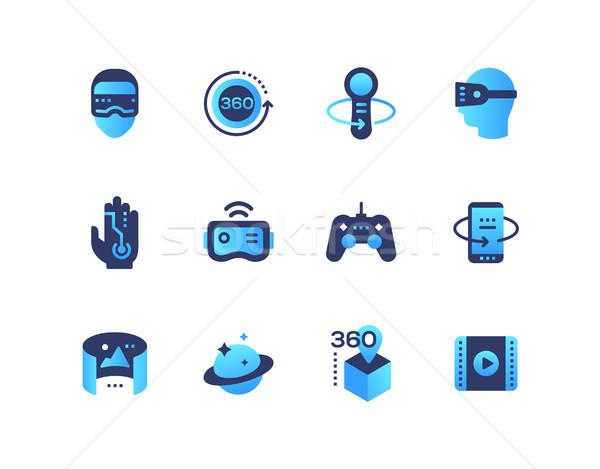 Virtual reality - set of flat design style icons Stock photo © Decorwithme