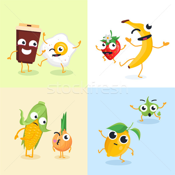 Stock photo: Funny food characters - set of modern vector illustrations