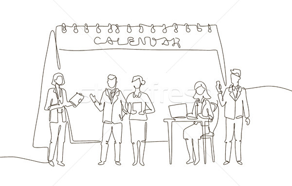 Business meeting - one line design style illustration Stock photo © Decorwithme
