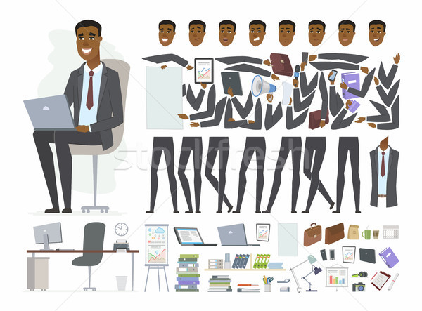 African businessman - vector cartoon people character constructor Stock photo © Decorwithme