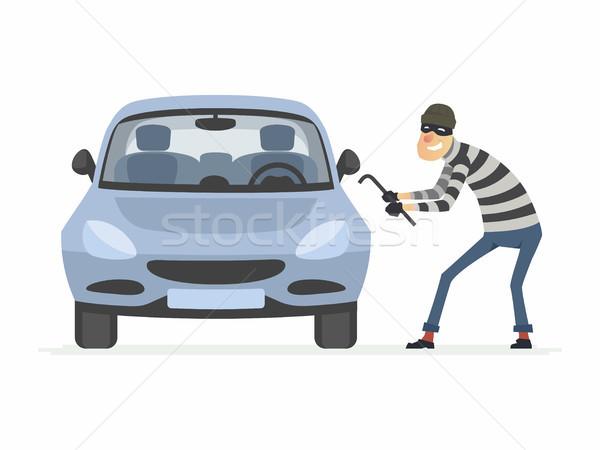 Autó tolvaj rajzolt emberek betűk illusztráció izolált Stock fotó © Decorwithme