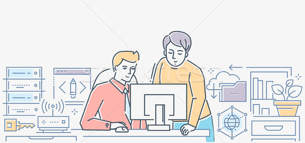 Work process - colorful line design style illustration Stock photo © Decorwithme